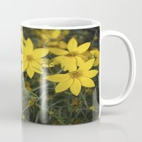 rileigh smirl Mugs featuring Yellow Flowers by Rileigh Smirl