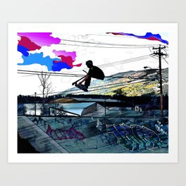 Let's Scoot! - Stunt Scooter at Skate Park Art Print