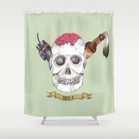 bill Shower Curtains featuring R.I.P. Bill by Phoebe Kirk