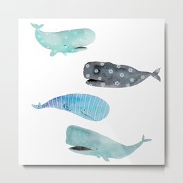 Patterned Sperm Whales Metal Print
