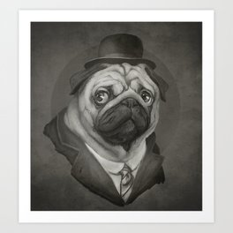 Hobo Pug Art Print