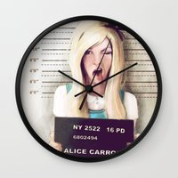 alice Wall Clocks featuring Alice by adroverart