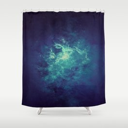 Gray & Soft Turquoise Intergalactic Dust Shower Curtain
