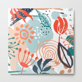Festive, Abstract, Floral Prints, Orange, Teal, Blue, Colourful Prints. Metal Print