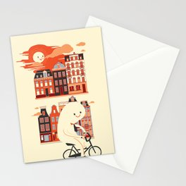Happy Ghost Biking Through Amsterdam Stationery Cards