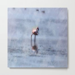 Solitary Flamingo Watercolor Metal Print