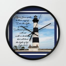Bodie Island Lighthouse-North Carolina -With John 8:12 Wall Clock