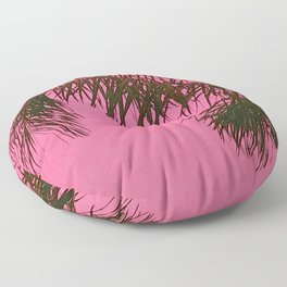Palm Tree Leaves in Papaya Pink Tropical Sunset Floor Pillow