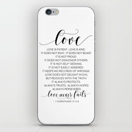 DEFINITION OF LOVE, Love Is Patient Love Is Kind,Love Quote,Love Art,Love Gift,Darling Gift,Love you iPhone Skin