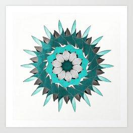 Aqua Leaf Mandala Art Print