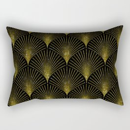 Back and gold art-deco geometric pattern Rectangular Pillow
