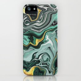 Emerald Green and Gold Melted Marble iPhone Case
