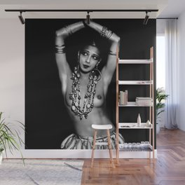 Jazz Age Josephine Baker in Folies Bergère Bananas Costume black and white photography Wall Mural