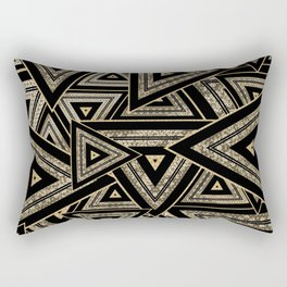 Gold and Black Triangle Abstract Multi Pattern Design Rectangular Pillow