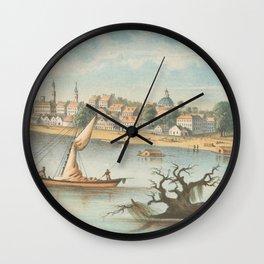Vintage Pictorial View of Baton Rouge LA (1854) Wall Clock