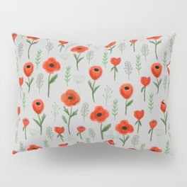 Poppy flower painted floral pattern minimal nursery happy decor gifts Pillow Sham