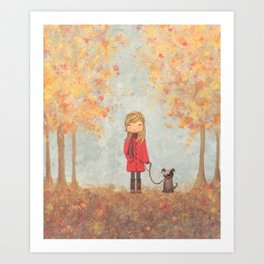 Little girl with dog in autumn landscape Art Print