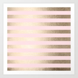 Stripes White Gold Sands on Pink Flamingo Art Print
