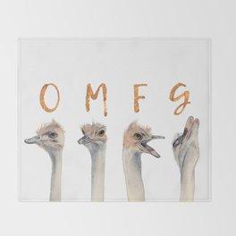 OMFG Ostriches Throw Blanket