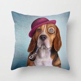 Drawing Dog Beagle Throw Pillow