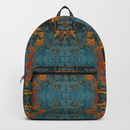 The Spindles- Blue and Orange Filigree  Backpack