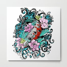 Colored Carpa Koi Metal Print
