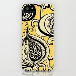 Black and Yellow Floral iPhone Case