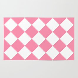 Large Diamonds - White and Flamingo Pink Rug