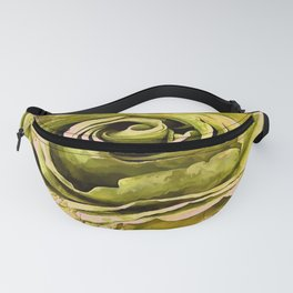 Yellow and Grey Artistic Rose Fanny Pack