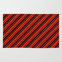Bright Red and Black Diagonal RTL Var Size Stripes Rug
