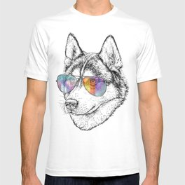 Husky Dog Graphic Art Print. Husky in glasses T-shirt