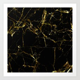Golden Marble - Black and gold marble pattern, textured design Art Print
