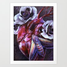 Moth and Heart Art Print