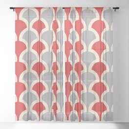 Classic Fan or Scallop Pattern 417 Gray and Red Sheer Curtain