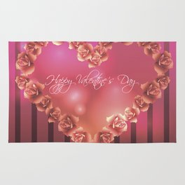 Illustration for Valentines day with heart shaped frame with roses Rug
