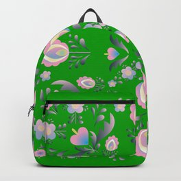 Folk Flowers in Green and Pink Backpack