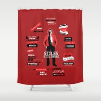 stiles stilinski Shower Curtains featuring Stiles Stilinski Quotes Teen Wolf by Alice Wieckowska
