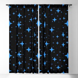 Bright Blue  Stars in Space Blackout Curtain