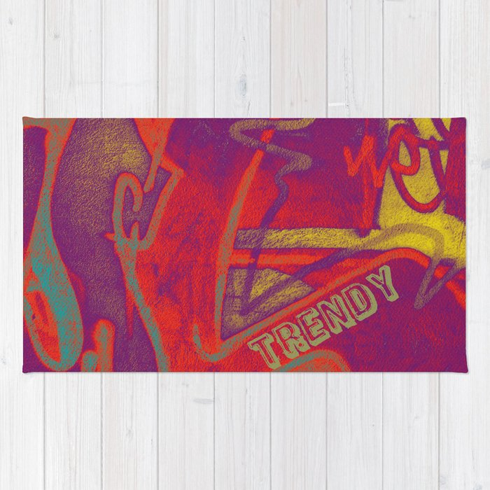 Cool TRENDY script graffiti style print in bold mauve purple, orange tangerine, yellow, teal and red Rug
