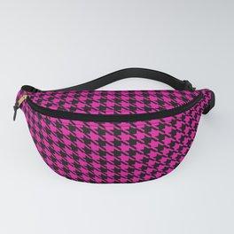 PreppyPatterns™ - Cosmopolitan Houndstooth - black and magenta pink Fanny Pack