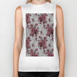 Vintage Roses and Spiders on Lace Halloweeen Watercolor Biker Tank