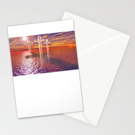 Christian crosses on red sea Stationery Cards