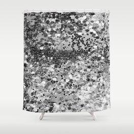 Sparkly Silver Glitter Confetti Shower Curtain