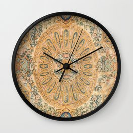 Louvre Fame Carpet // 16th Century Sunflower Yellow Blue Gold Colorful Ornate Accent Rug Pattern Wall Clock