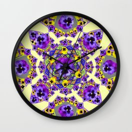 MANDALA OF PURPLE & YELLOW PANSY GARDEN Wall Clock