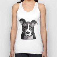 pit bull Tank Tops featuring Pit Bull Dogs Lovers by Gooberella