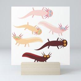 Cute orange pink brown Axolotl Cartoon character (Mexican salamander, Ambystoma mexicanum) Mini Art Print