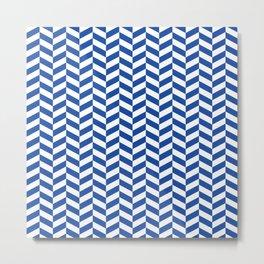 Cobalt Blue Herringbone Pattern Metal Print