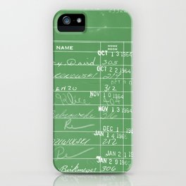 Library Card 23322 Negative Green iPhone Case