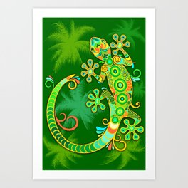 Gecko Lizard Colorful Tattoo Style Art Print